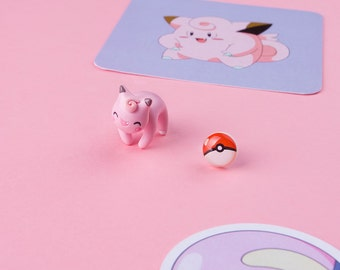 Clefairy Cat Earring | Nine studs to choose from last photo | Handmade & Handpainted | Pekomon Collection