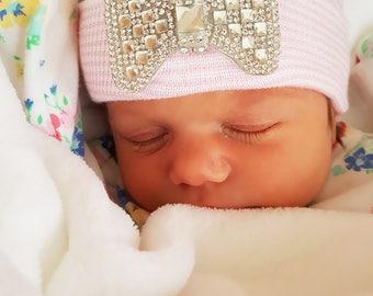 Newborn BABY GIRL HAT Pink Deluxe Crystal Bow Rhinestone newborn hat newborn beanie hospital cap newborn girl newborn hat girl baby newborn