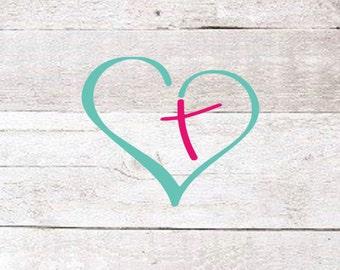 Heart Cross Decal   Christian Decal   Cross Decal   Faith Decal   Preppy Decal   Yeti Decal