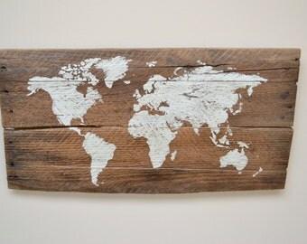 Small World Map on Reclaimed Barnwood