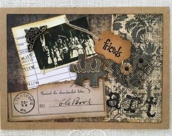 Vintage Collage Card ~ Vintage Photograph & Ephemera ~ Friendship ~ Art ~ Framable Art ~ Vintage-Inspired Card ~ One-of-A-Kind Card
