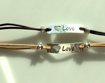 Leather and Silver LOVE Heart Bar Bracelet - Various Colors - Made To Order - Cut Out Heart Bar Bracelet