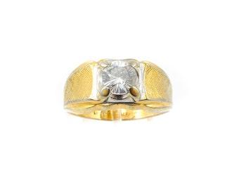 Vintage Lindenwold Men's Ring, Cubic Zirconia, Gold Electroplate, Signed, Size 12