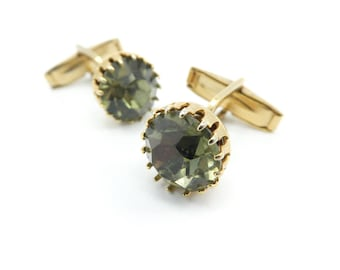 Vintage Green Rhinestone Cuff Links, Faceted, Claw Set, Gold Tone