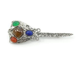 Vintage Celtic Brooch, Glass Stones, Silver Tone