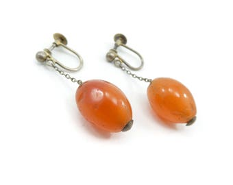 Vintage Carnelian Drop Earrings, Silver, Screw Backs, Circa 1920-1930