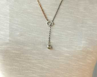 Simple Lariat Necklace with Mixed Metals for Layering