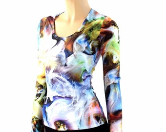 Swirling Smoke Multicolor Clouds Long Sleeve Scoop Neck Full Length Spandex Top - 154143