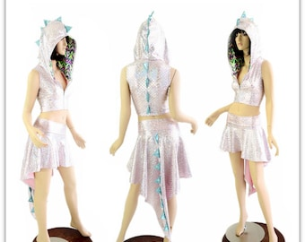 2PC Pink & Silver Scale Zippered Sleeveless Crop Hoodie / Seafoam Spikes and Chevron Candy Hood Liner / Matching Dragon Tail Skirt 154463