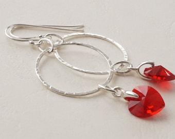 Swarovski hearts on hoops, hoop earrings, red heart earrings, hoop charm earrings, hoop earrings with Light Siam Swarovski hearts