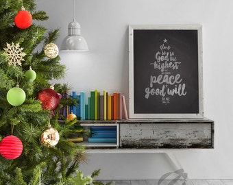 Chalkboard Christmas Verse Glory to God in the Highest Luke 2:14, 16x20 Poster size Digital File Instant Download by LostBumblebee