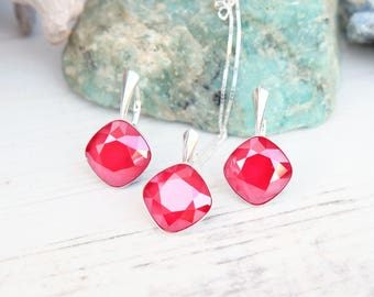 Royal red Swarovski square crystal earrings necklace set Sterling Silver jewellery Cushion cut crystal drop bridesmaids wedding earring