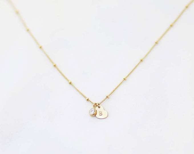 Heart Initial Necklace on Beaded Satellite Chain with CZ Diamond Charm / Bridesmaid Necklace Gift / Mother's day Gifts under 40