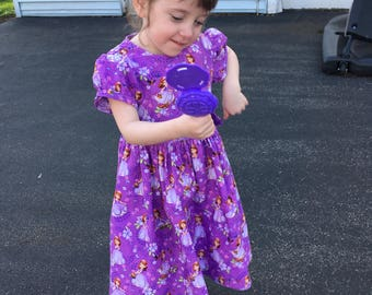 Disney Princess Sofia the First with friends Clover, Robin, Mia and Whatnaught Girls Purple Dress size 3T