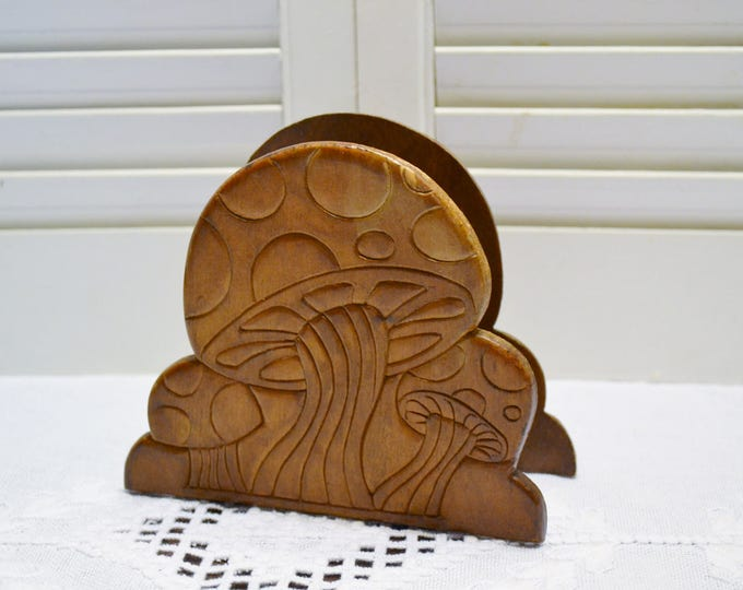 Vintage Wood Napkin Holder Mushroom Letter Holder Pressed Wood Retro Home Decor PanchosPorch