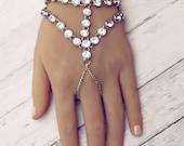 Cleo Boho Hand Chain Silver Hand Jewelry Rhinestone bracelet Boho Chic Jewelry Boho Hand Chain wedding slave bracelet  finger bracelet