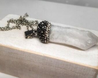 Boho healing jewelry, Quartz crystal bohemian necklace, boho chic