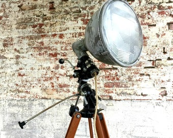 Crouse Hinds Spotlight, Tasco Telescope Tripod, Nautical Spotlight, Wood Nautical Lamp, Tripod Floor Lamp, Crouse Hinds, Wooden Tripod