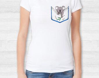 Women's Koala Pocket T shirt, V Neck, tank top, sweatshirt, S, M, L, XL