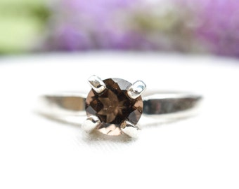 Natural Brilliant Smoky Quartz Ring in 925 Sterling Silver *Free Worldwide Shipping*