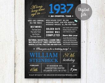 80th Birthday Invitation for men   Chalkboard invitation for him grandpa granddad adults veteran   What happened facts 1937 DIGITAL file!
