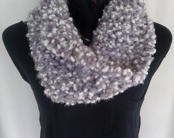 Gray and White Knit Scarf/Cowl  Ready to Ship!