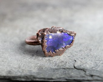 Opal Ring Size 6 1/2 Raw Australian Opal Electroformed Stone Ring Purple Stone Ring Copper Ring
