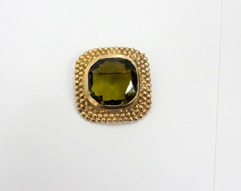 Large Square Brooch Peridot Gemstone Gold Pin Avocado Green Large Stone Accessocraft 1960's Vintage Brooch Pin Jewelry