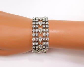 Art Deco Rhinestone Bracelet Extra Wide Rhodium Crystal Bracelet Hidden Clasp Early Century Silver Clear Rhinestone Bracelet Jewelry