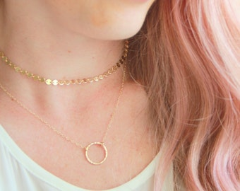 Circle Gold Necklace, 14kt Gold filled Ring Necklace, Gold Necklace, Circle necklace, Gold Necklace, Nameplate Necklace, Bridesmaid Gift