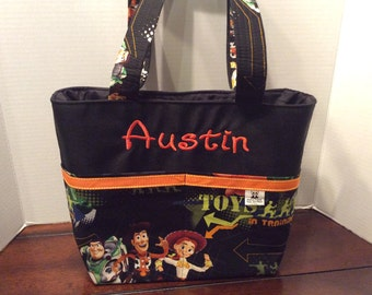 Personalized small 5 pocket tote bag made with Toy Story fabric