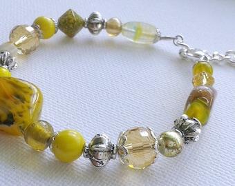 Yellow bracelet, yellow beaded bracelet, yellow random bead bracelet