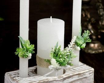 Wedding Unity Candle, Personalized Wedding Candle, Greenery Wedding Unity Candle Set, Unity Ceremony Pillar Candle, Rustic Ceremony Candle