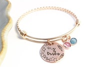 Rose Gold ~ My Tribe ~ Mommy Bracelet ~ Hand Stamped Copper ~ Mother's Day Jewelry ~  Adjustable Bangle ~ Good Vibe Tribe ~ Birthstone