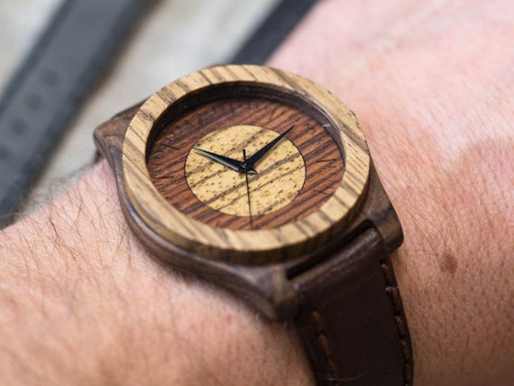 """Wood watch """"Trump"""", Rosewood+Zebrano  Watch, Gray Genuine Leather strap + Any Engraving / Gift Box. Christmas   gift"""