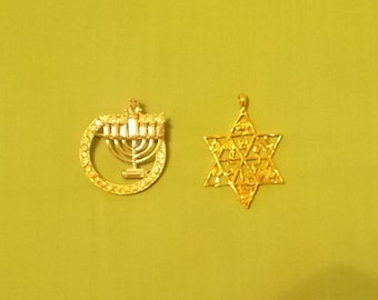 Costume Jewelry Menorah Brooch and a Star of David Pendant. (393)