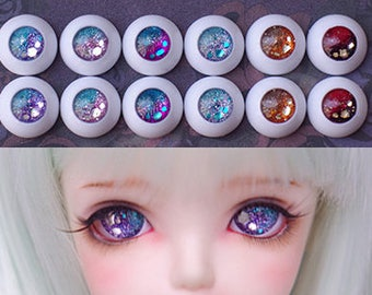 magic glitter glam crystal galaxy star acrylic BJD doll eyes 12mm 14mm  16mm pastel silver purple sharp pink blue red orange mix