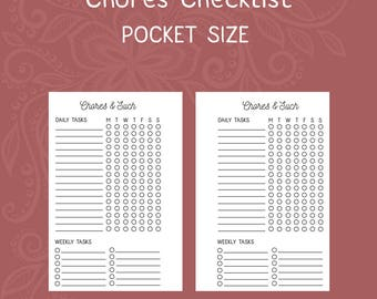 Chores and Cleaning Checklist Pocket Size Planner Insert [DIGITAL]
