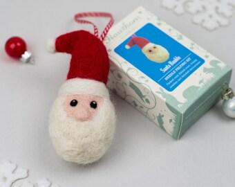 Santa Bauble Needle Felting Kit - craft kit gift - CIJ - Christmas in July - Christmas felting kit - felted christmas - handmade christmas
