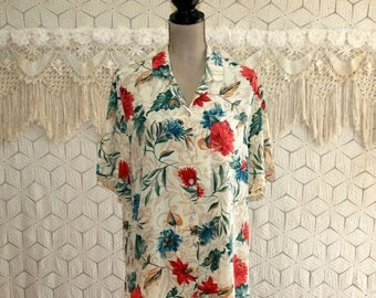 Womens Silk Shirt Plus Size 16 XL Button Up Blouse Floral Top Short Sleeve Silk Blouse Beige Teal Rust Plus Size Clothing Womens Clothing