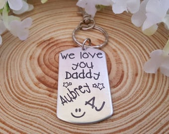 We love you Daddy Engraved Key Chain with Kids Names | Gift for Dad | Choose a Phrase or use your own for the back