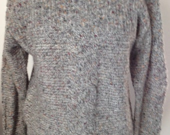 Sweater wool chinee, vintage 80, dominant grey, size 36/38 or S