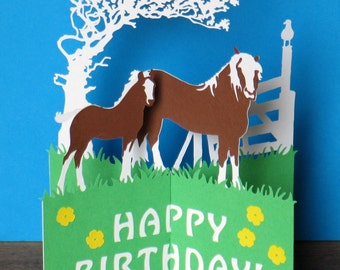 Horses, Birthday Card, Pop Up Card, Rural, Horse, Farming Card, Thank You, Thank You Cards, Miss You Card, Thinking Of You Card, Rustic