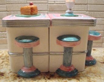 Vintage OmniBus/Fitz & Floyd Rockola Creamer and Sugar Set - Fun Kitchen Decor!!
