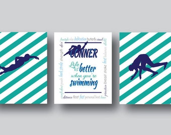 Set of 3 Prints, Swimmer Wall Art, Swimmer Art, Gifts for Swimmers, Swimming, Just Keep Swimming, Sports Decor, Sports Poster, Personalize