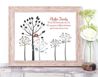 Personalized Family Wall Art, Modern Family Tree Print, Family Tree Personalized Art, 40th Anniversary, 50th Wedding Anniversary Gifts