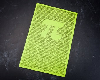 Pi Mathematics Softcover Notebook, Lime Green, 100% Recycled Paper, Journal, Numbers Journal