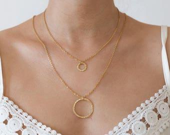 Layering necklace circle