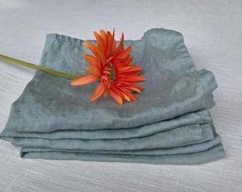 Natural linen  dinner napkins , blue linen napkins set of 4