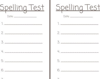 Spelling Test Printable